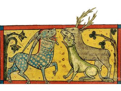 Détail d'une enluminure présentant un bestiaire